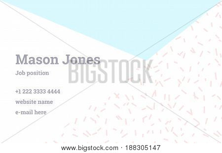 Fashion business card template in the style of Memphis. Perfect combination of organic pattern and geometric shapes. A pattern of pastel blue triangle and pink dashes. Funky design.