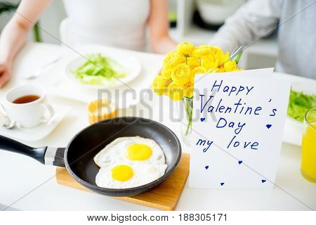 Couple eating breakfast in the morning valentines day