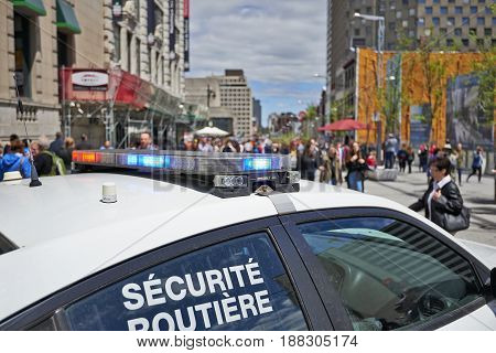 Security Police Car Parked In  Montreal Streets