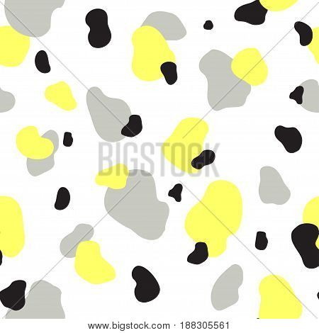 Abstract seamless chaotic pattern with military style. Modern wallpaper in trendy pastel colors. Yellow, gray and black. Background texture with spots and blots. Repeat endless design. Vector.