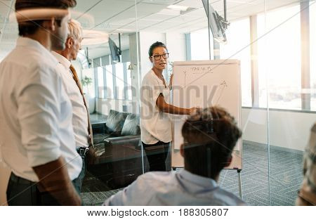 Asian woman standing near flip chart and inputting their ideas. Businesswoman giving presentation to colleagues using flip board.