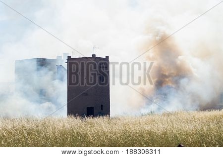 I inflame in field of wheat with tower and the smoke with an abstract form of face