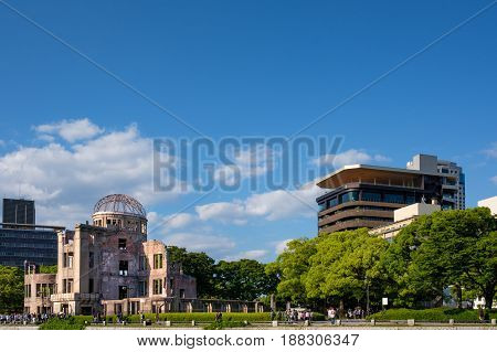 The Hiroshima Genbaku Dome or Peace Memorial Atomic Bomb Dome Hiroshima Japan