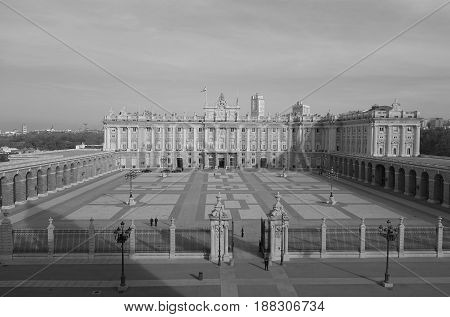 Morning on the Palace Square. Royal Palace in Madrid