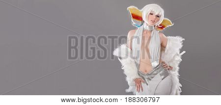 Glamour And Sensual Disco Queen Lady In Luxury White Costume