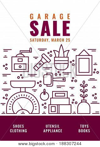Garage sale flyer template. Vector line style illustration.