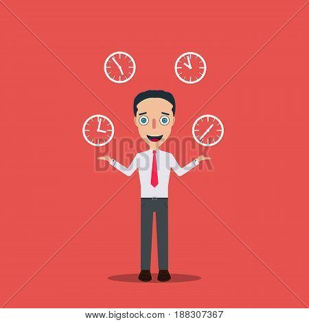 Businessman Cartoon Character Icon Isolated Design Template Vector Illustration four clock timer.