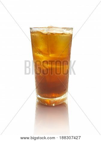 Cold glass of iced tea isolated on white background