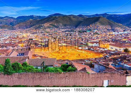 Cusco Peru the historic capital of the Inca Empire. Plaza de Armas at twilight.