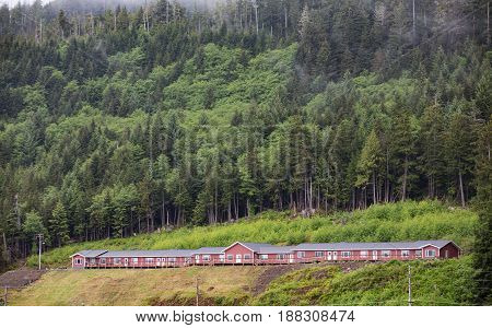 An Old Red Wood Lodge in Alaska