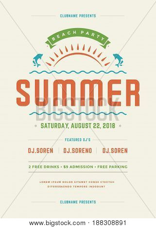 Retro summer party design poster or flyer. Night club event typography. Vector template illustration EPS 10.