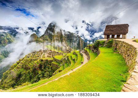 Machu Picchu Peru. UNESCO World Heritage Site. One of the New Seven Wonders of the World