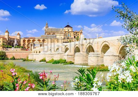 Cordoba Spain. The Roman Bridge and Mosque (Cathedral) on the Guadalquivir River.