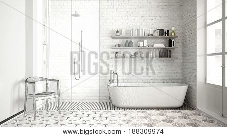 Unfinished project of scandinavian classic vintage bathroom sketch abstract interior design, 3d illustration