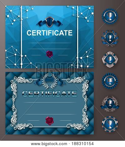 Set of elegant templates of diploma with floral element, ribbon, wax seal, abstract background, badges. Certificate of achievement, education, awards, winner. Vector illustration EPS 10.