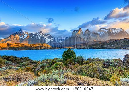 Torres Del Paine National Park Chile. Sunset at the Laguna Pehoe.