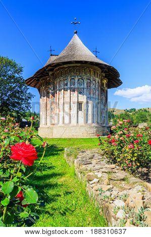 The Humor Monastery Romania. One of Romanian Orthodox monasteries in southern Bucovina.
