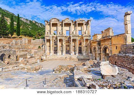 Izmir Turkey. Library of Celsus in Ephesus Ancient city.