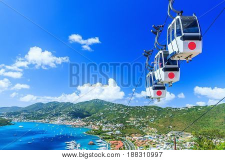 Caribbean St. Thomas USVI. Cable car at Heavensight in Charlotte Amelie.