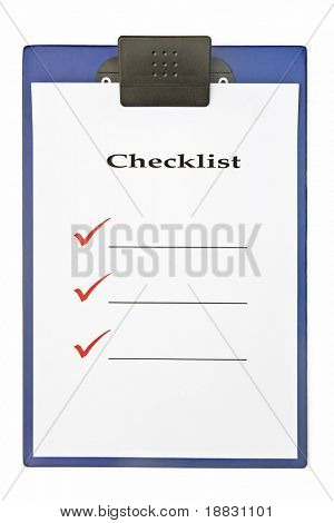 Blank checklist on clipboard, with large red ticks, and room for text
