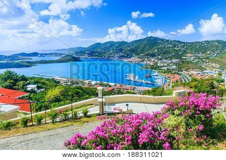 Caribbean St Thomas US Virgin Islands. Panoramic view.