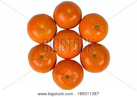 Group Closeup Of Ripe Tangerines On A White Background. Clementine. Citrus. Fresh Fruit.