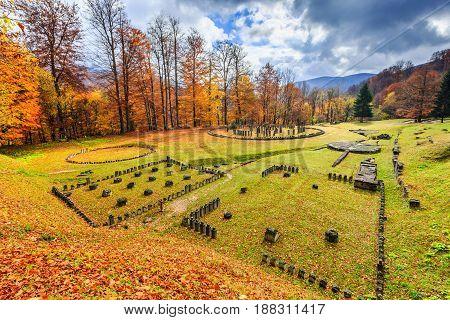 Romania Sarmizegetusa Regia. Dacian ruins Fortress in autumn.