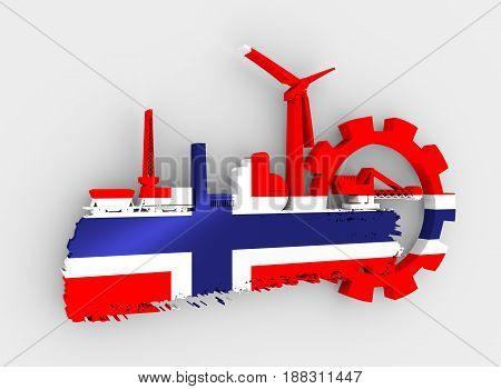 Energy and Power icons set and grunge brush stroke. Energy generation and heavy industry relative image. Flag of the Norway. 3D rendering