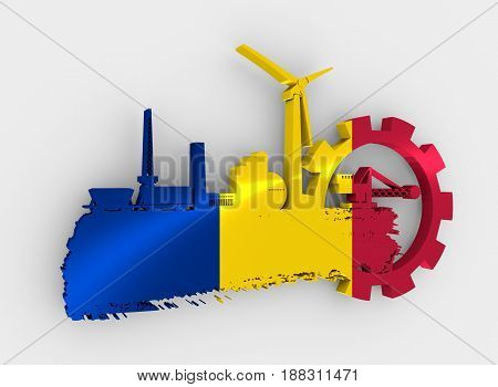 Energy and Power icons set and grunge brush stroke. Energy generation and heavy industry relative image. Flag of the Romania. 3D rendering