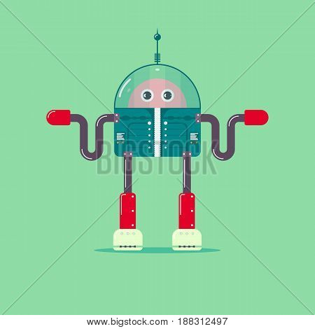 Robot in flat infographics style. Vector illustration