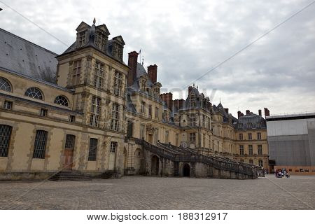 Front of the Fontainebleau castle, july 2015 31th