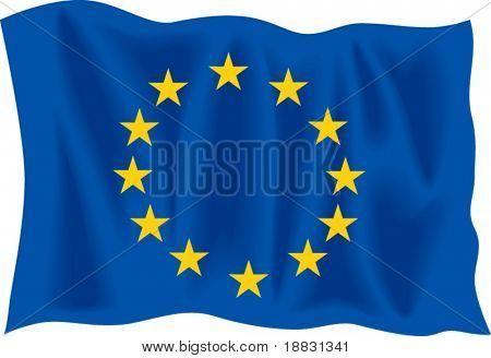 Waving flag of European Union