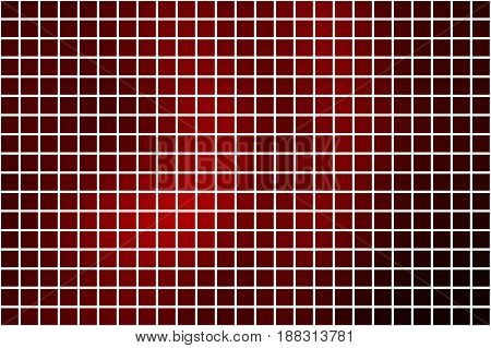 Deep Burgundy Red Square Mosaic Background Over White