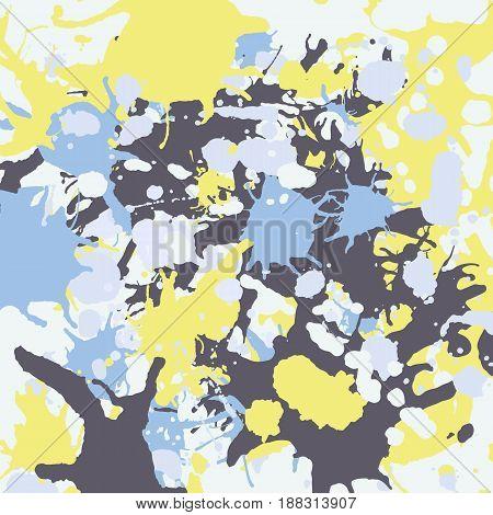 Yellow Blue Grey Ink Splashes Background Square