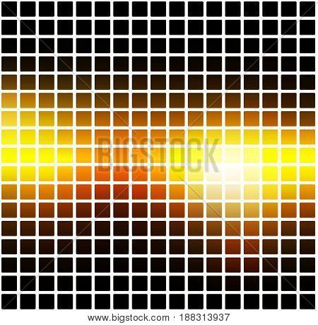 Black Orange Yellow Rounded Mosaic Background Over White Square
