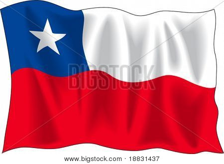 Waving flag of Chile isolated on white