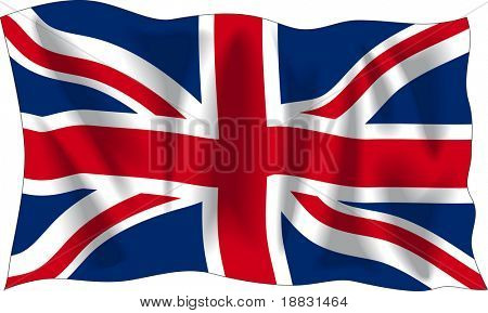 Waving flag of United Kingdom isolated on white