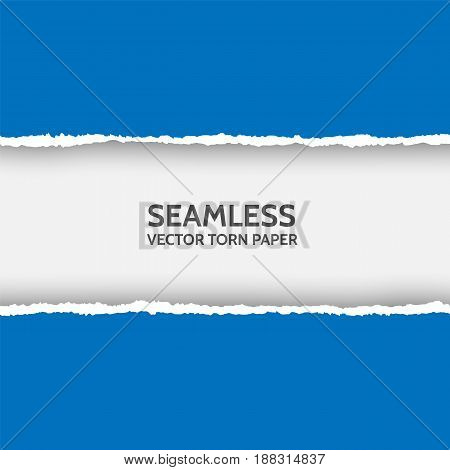Vector seamless torn paper on white background. Isolated ripped blue paper edges with soft shadow. Template for your design. Sample text