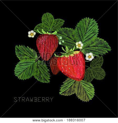 Vector illustration of Embroidery, fancywork with strawberry and flower with green leaf. Decoration, ornament, adornment, dressing on black background.