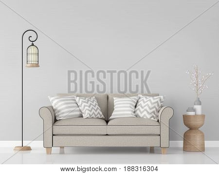 Modern vintage living room interior 3d rendering Image.There are minimalist style image gray empty wall and light brown sofa
