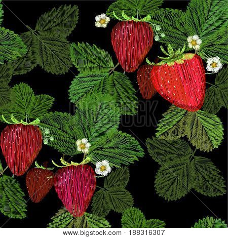 Vector illustration of seamless pattern Embroidery, fancywork with strawberry and flower with green leaf. Decoration, ornament, adornment for print fabric on black background.