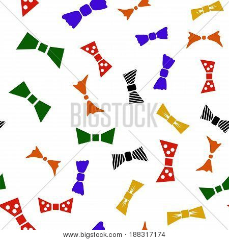 Colored Bows Seamless Pattern Isolated on White Background