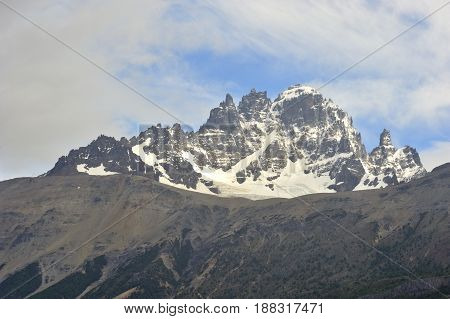 Landscape of the mountain Cerro Castillo in the Carretera Austral which is part of the Chilean Patagonia