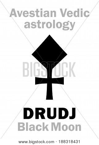 Astrology Alphabet: DRUDJ (Black Moon), Avestian vedic astral moon. Hieroglyphics character sign (single symbol).