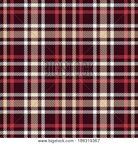 Red And Brown Tartan Seamless Vector Pattern. Checkered Plaid Texture. Geometrical Simple Square Dar