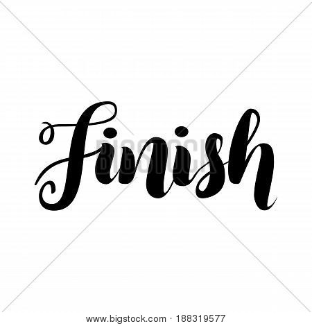 Finish lettering word logo isolated on white, vector illustration