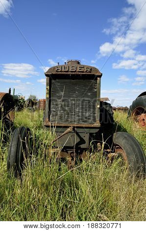 BARNESVILLE, MINNESOTA, September 14, 2014, 2016:  The Huber tractor was produced from 1892-1942 by the Huber Manufacturing Company of Marion, Ohio.