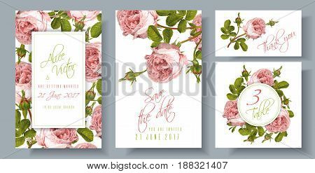 Vector wedding invitations set with garden rose flowers on white background. Can be used as floral design for natural cosmetics, perfume, health care products. and greeting cards