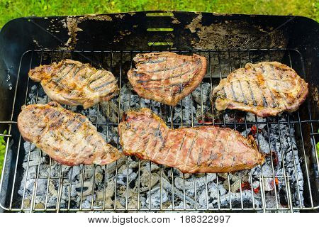 Baked Beef And Pork Meat On Grill
