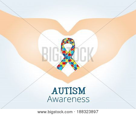 Autism awareness concept with ribbon of puzzle pieces